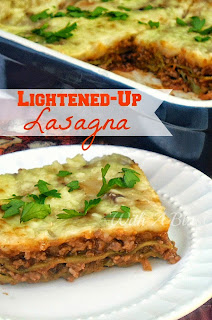 "Lightened-Up Lasagna ~ Enjoy full flavor Lasagna with this Low-fat option and some ""hidden"" veggies #Lasagna #LowFat #LowFatLasagna"