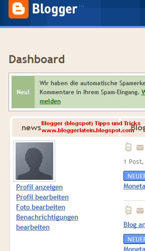 Profil aktivieren, Profilbild hochladen und Profildaten bei Blogspot bearbeiten