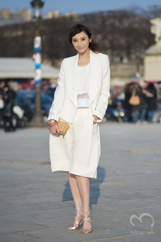Pace Wu wearing Chloe before Chloe Show Paris Fashion Week 2013 2014 Fall Winter Street Style Shimpei Mito