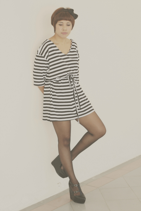 monochrome stripe dress, tent dress, fashion blogger, black dolly wedges, black stockings, edgy, cute style