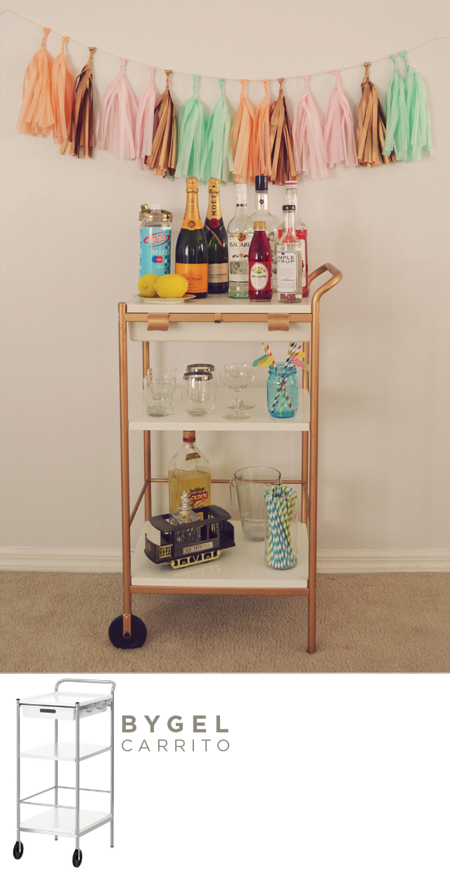 Milowcostblog ideas deco ikea y el spray dorado for Panier de bar ikea bygel
