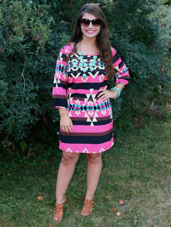 Neon Pink Tribal Print Dress via Flourish Boutique
