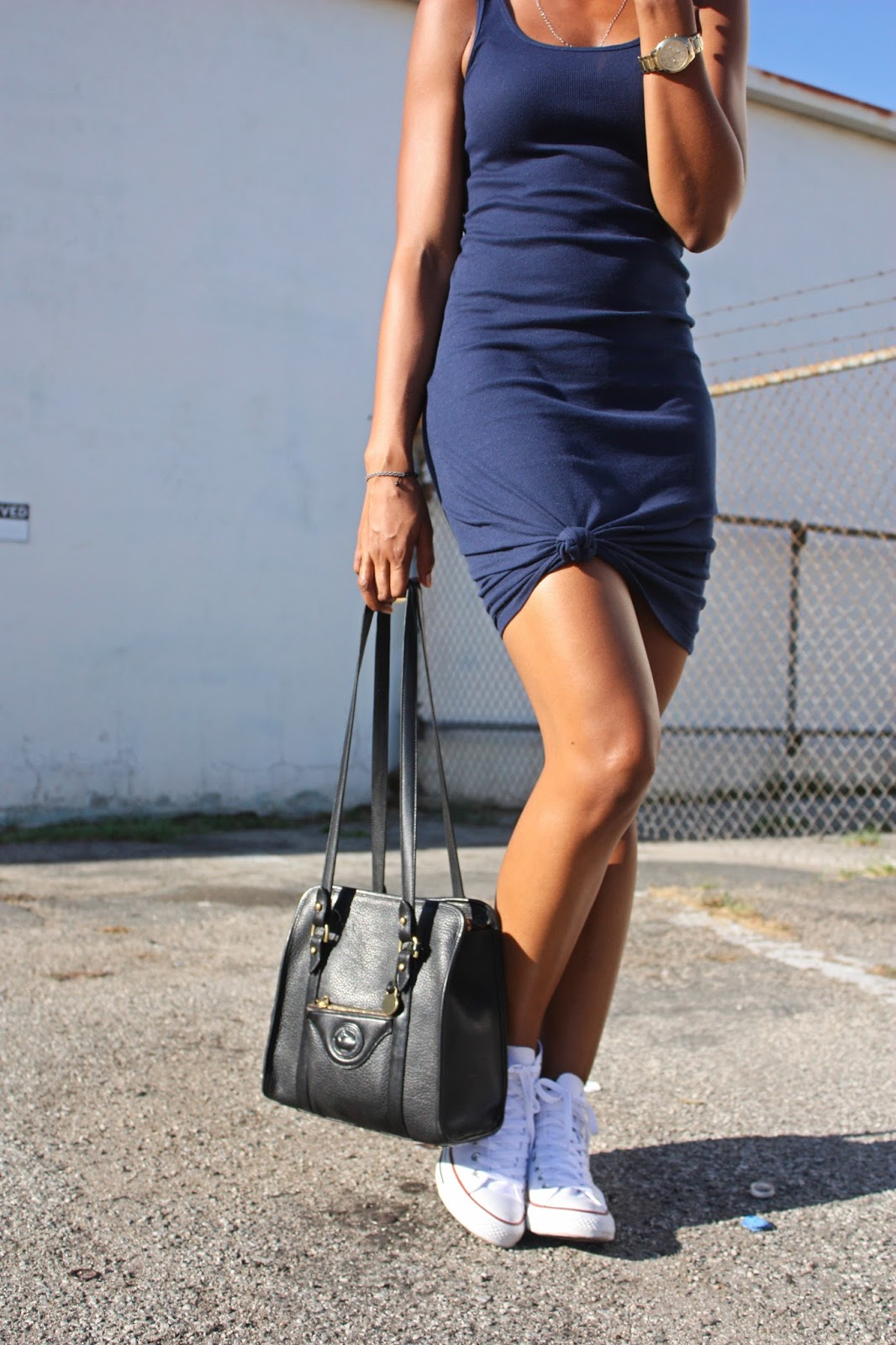 Outfit Details // H&M ribbed knit dress, Converse All Star high-top sneakers, Dooney & Bourke purse, Caravelle NY watch
