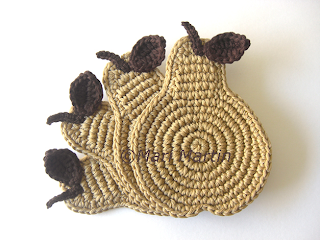 Crochet Coasters Pear Beige