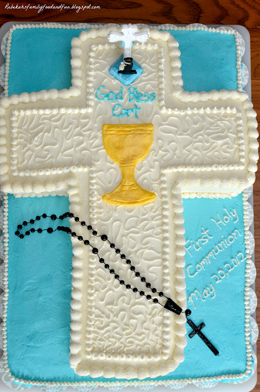 Family food and fun first holy communion cross cake for 1st holy communion cake decoration ideas