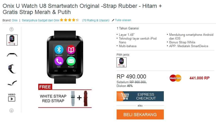 Review Smartwatch Onix U Watch U8
