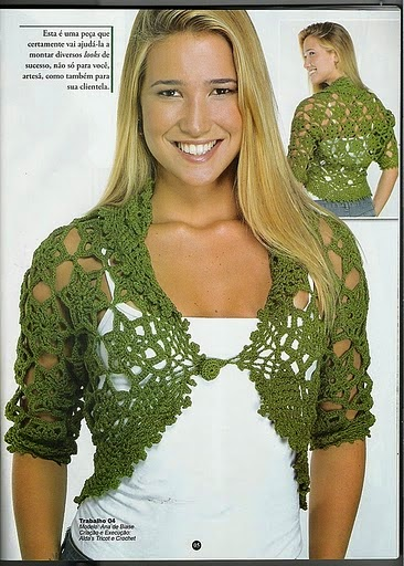 Bolero tejido al crochet con patrones