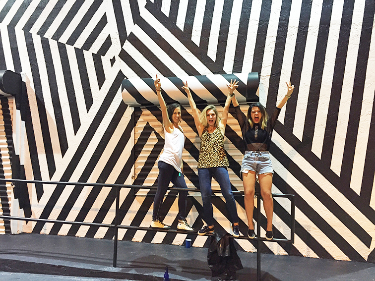 Fashion Over Reason at Art Basel 2014, striped street srt mural, friends