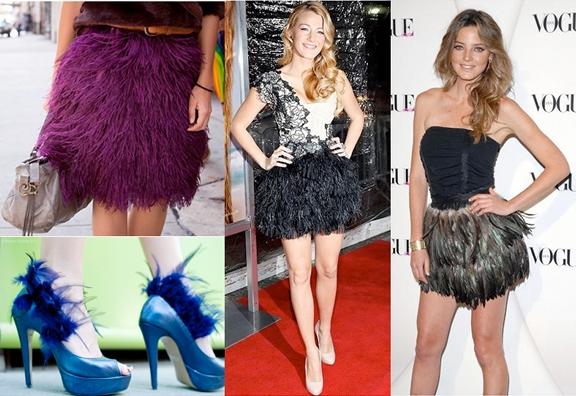moda faldas de plumas