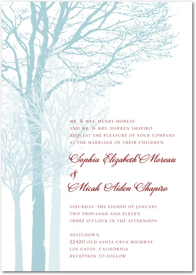 Frosty Tree Wedding Invitation photo courtesy of Wedding Paper Divas