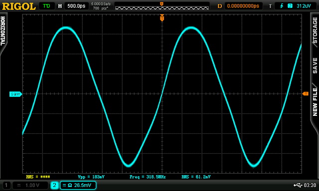 Per usual, the time domain waveform shows distortion when taken from the emitter node of a Colpitts.