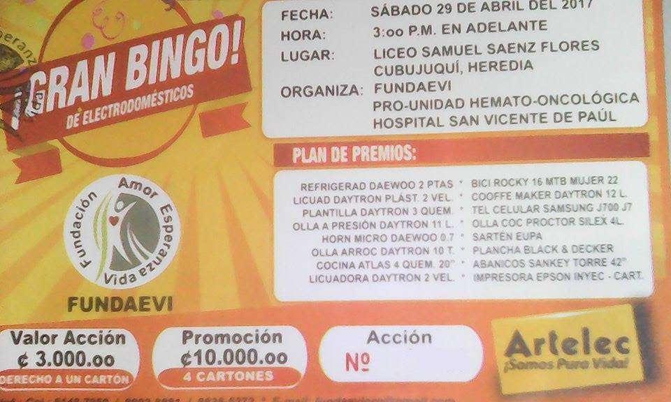 Invitación a bingo para unidad médica
