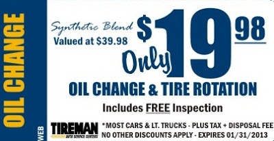 Walmart Oil Change Specials. These services are very popular because of the great price and product discounts. Also, Walmart has literally thousands of stores across each state, most of which have their own Tire and Lube Center, making it unbelievably easy to get your oil changed at a good price.