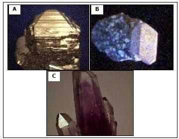 Contoh gambar batuan mineral-mineral yang bersifat rapuh. (A) Pirit, (B) Kwarsa dan (C) Ortoklas.