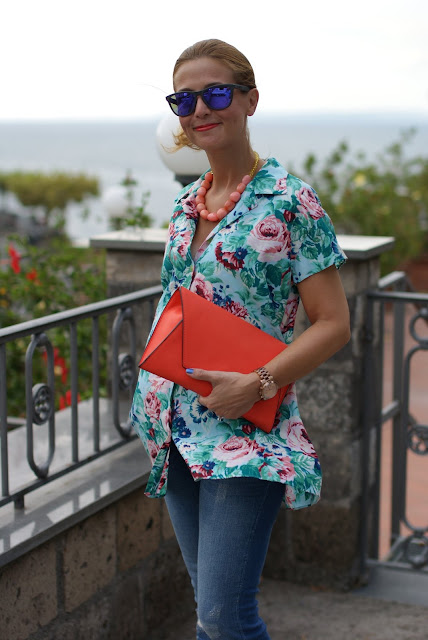 Kenzo floral print, Kenzo shirt, Zara orange clutch, Fashion and Cookies, fashion blog