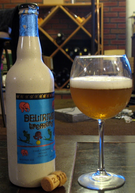 2011 Delirium Tremens with bottle, glass, and cork