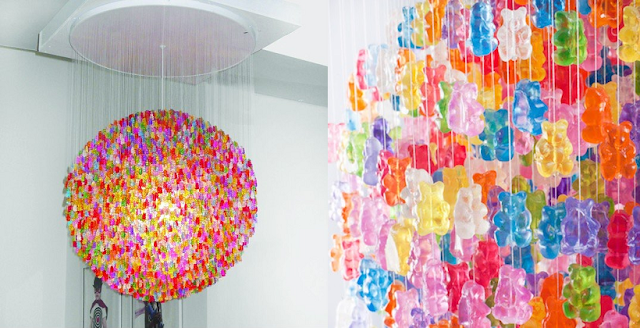 candelier, gummy bear chandelier