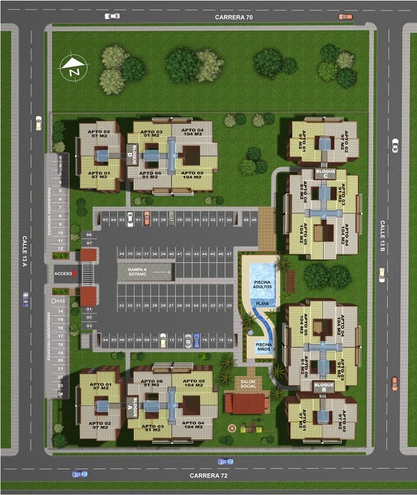 Drawings of Terrabella Condominium. 160m2 house of three floors and four bedrooms.
