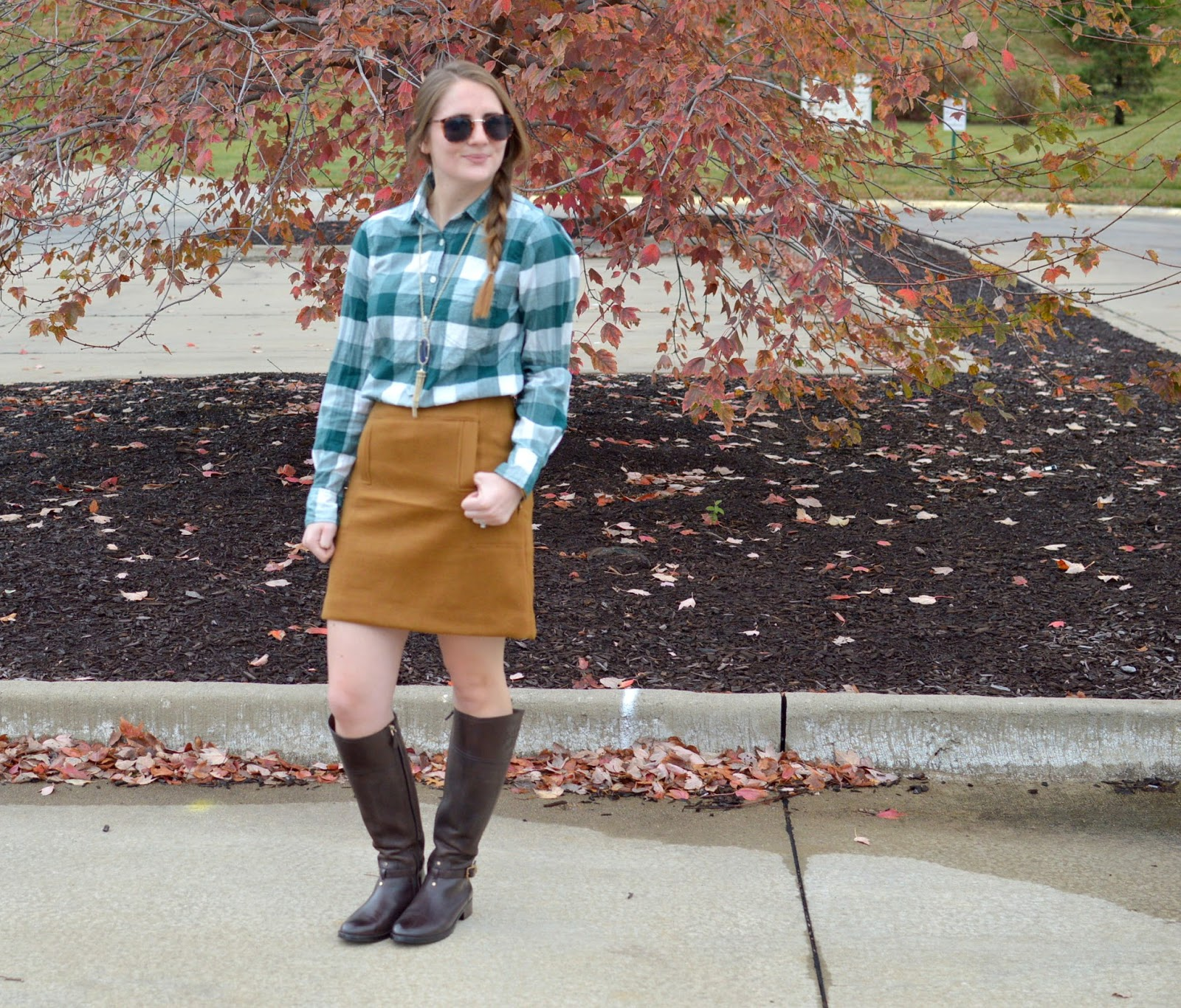 green plaid top outfit ideas