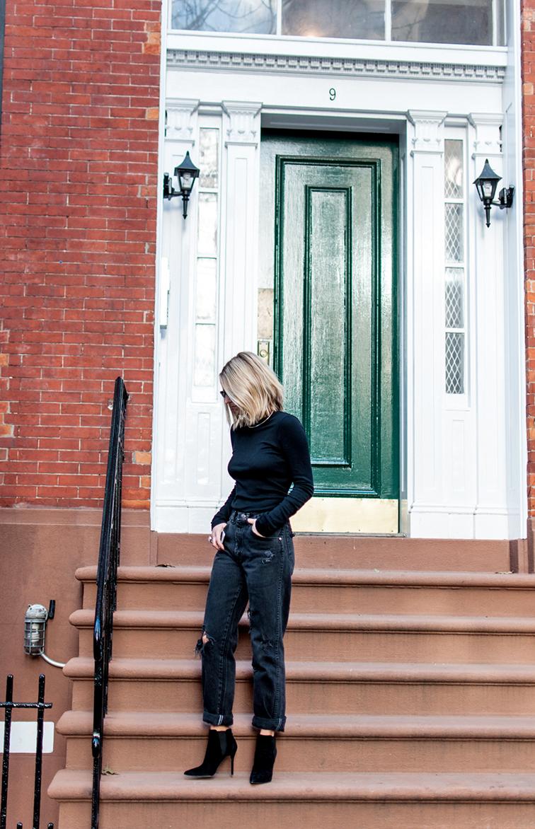 Fashion Over Reason, boyfriend mom jeans, turtleneck, Stuart Weitzman booties, West Village NYC, Washington Square Park steps