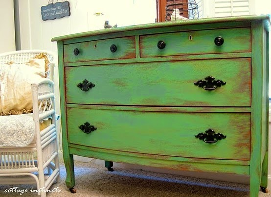 antique looking green dresser