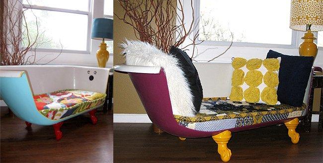 Tinas De Baño Viejas:esta decorada con una tabla de madera fijada a la bañera pintada de
