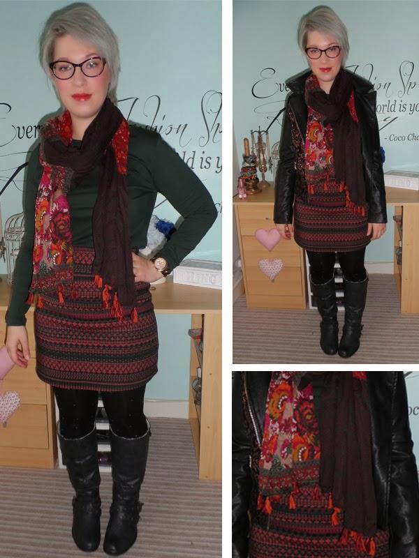 New Look top, scarf, skirt, Primark Knee Boots