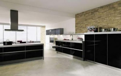 contemporary kitchen design in black