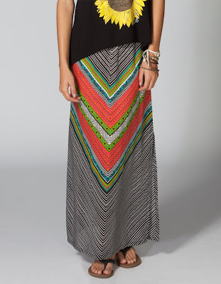 Rip Curl Tiki Goddess Skirt, maxi skirt, tribal skirt, cute summer skirt, long skirt