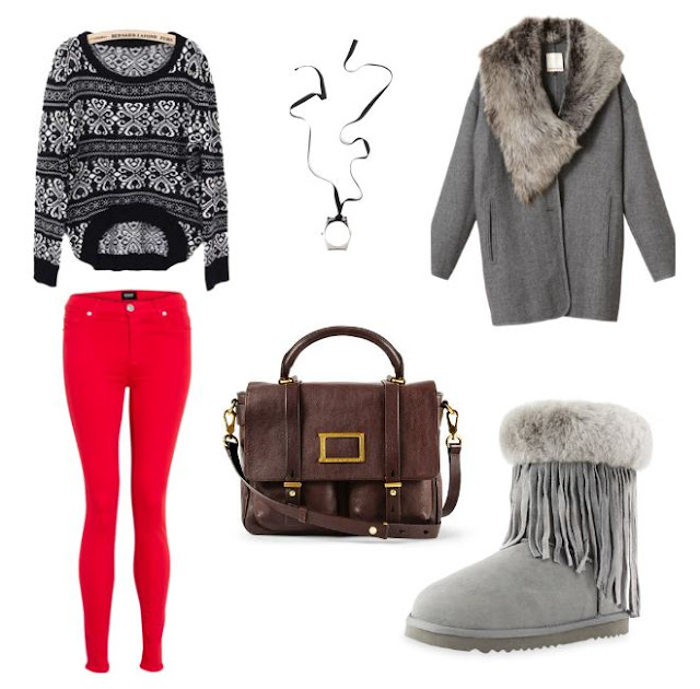 grey fur outfit AUKOALA UGG BOOTS INTERNATIONAL LIMITED, Grey tassle and fur cuff Aukoala ugg boots, red jeans, grey sweater, grey coat, Margiela for HM necklace, brown satchel, winder style, warm and cozy