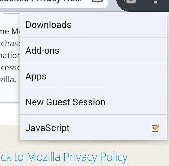 Screenshot of JavaScript toggle in the Tools menu