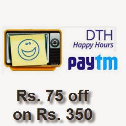 PayTM recharge offer: Rs.75 cashback on Rs.350 on DTH recharge