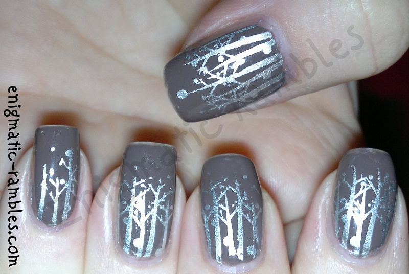 stamped-stamping-silver-tree-nails-elf-smoky-brown-stargazer-chrome-bundle-monster-407-BM407