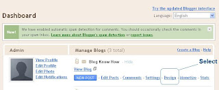 Select Design in the Old Blogger interface