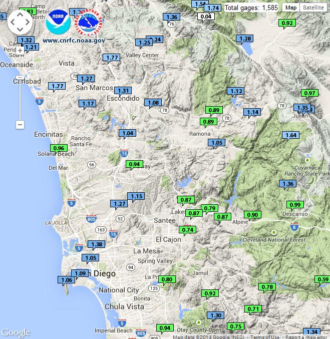San Diego Rain Totals Thu 12-11-2014 to Sat 12-13-2014
