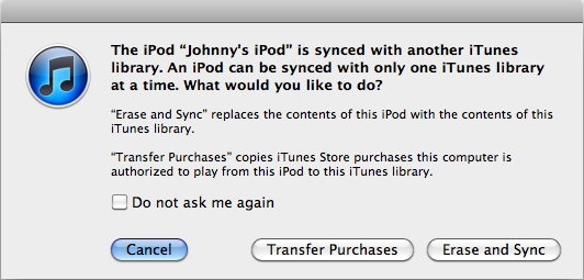 Transfer purchase with iTunes