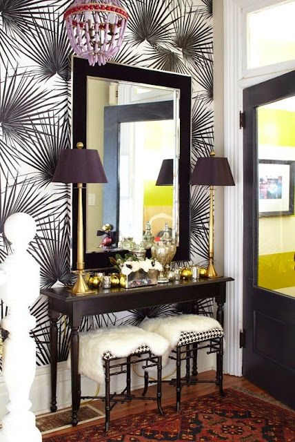 modern black and white print on foyer wallpaper