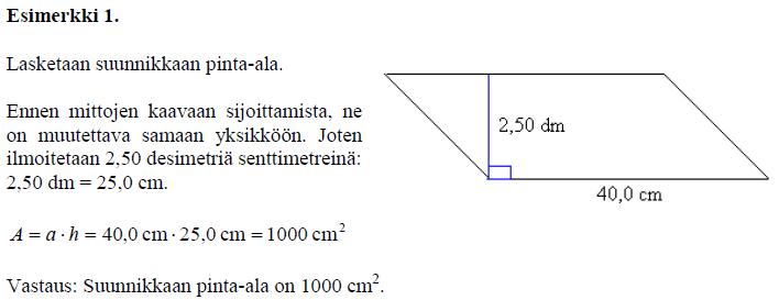 Suunnikkaan pinta-alan laskeminen