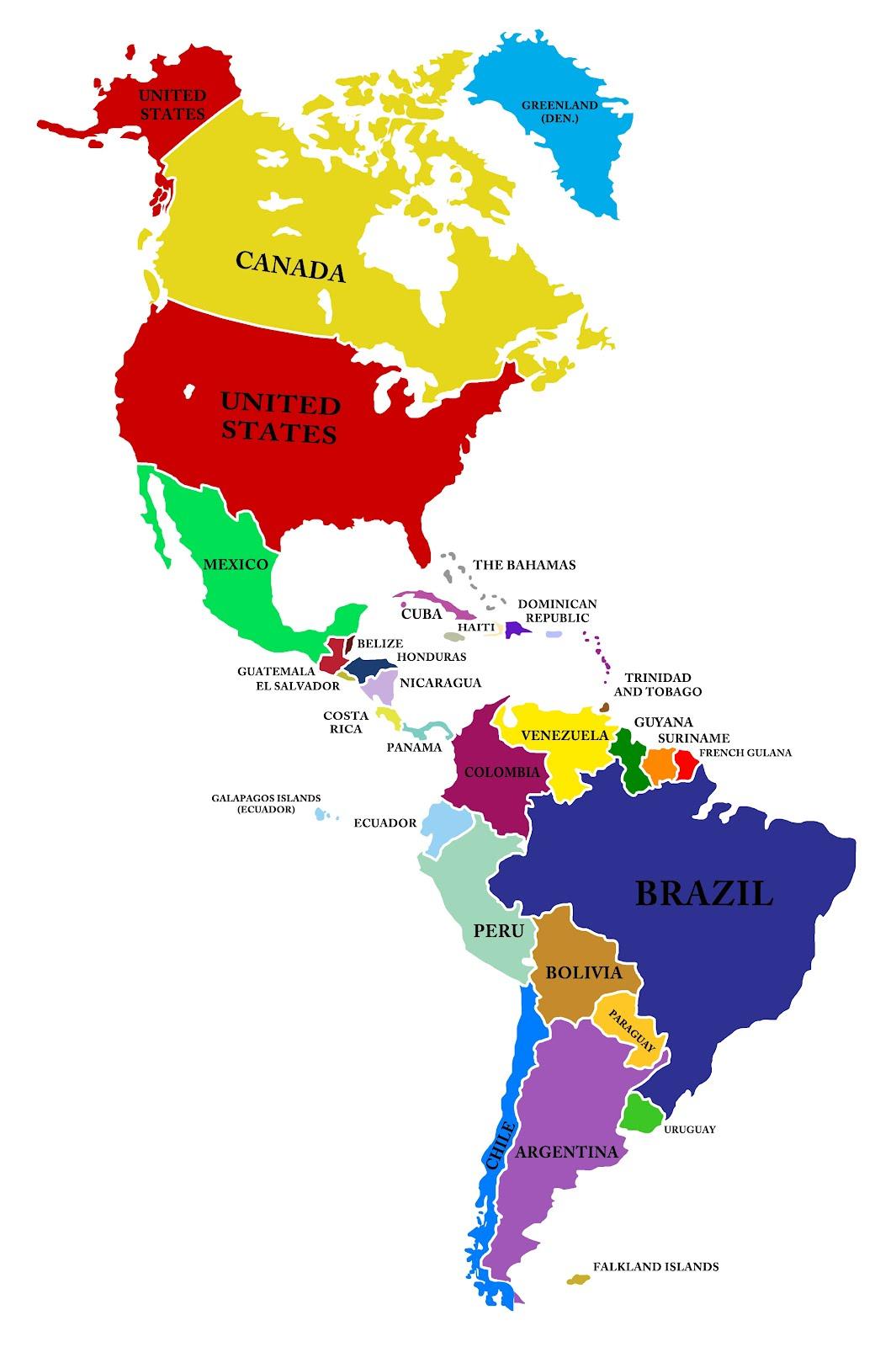 Mapa De Todo America Con Nombres