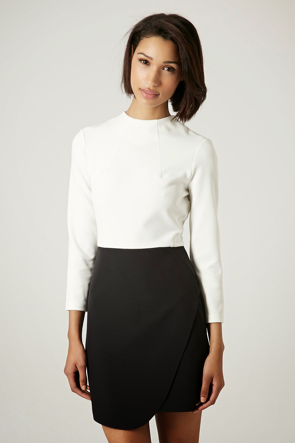 top and skirt dress, white black wrap dress,