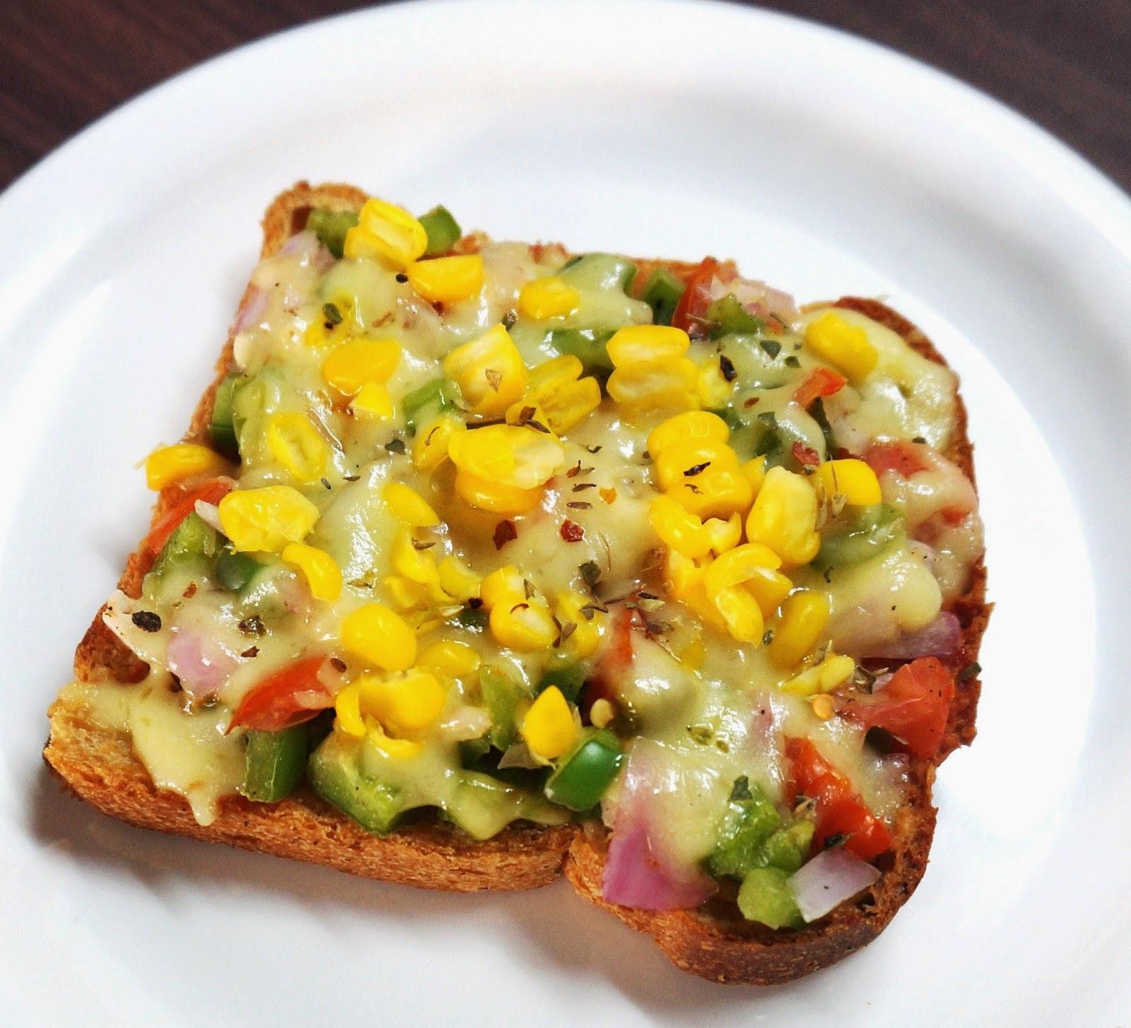 Whole wheat cheese corn vegetable toast