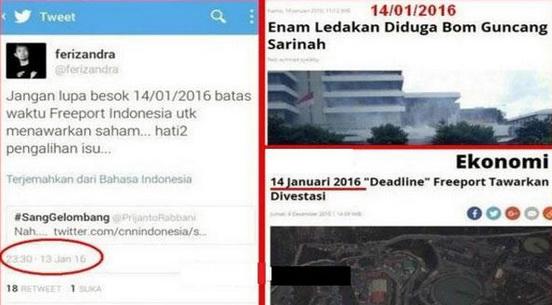 Netizen Duga Ledakan Bom Sarinah Cuma Pengalihan Isu Freeport dan DWP