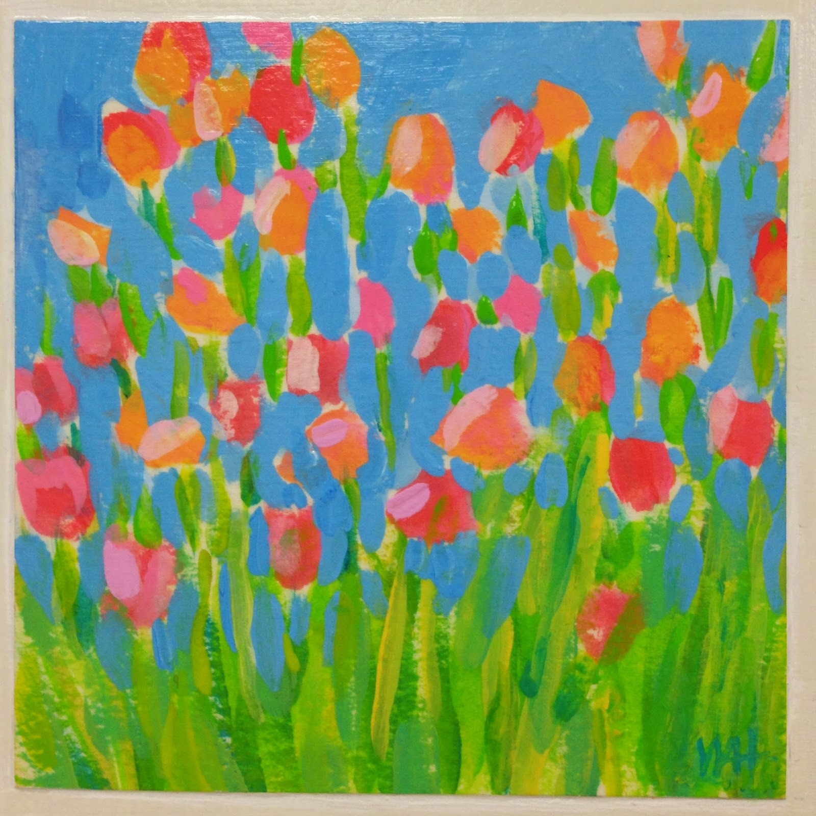 painting of pink and orange flowers by artist whitney