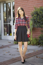 Red and Black Plaid Skirt Outfit