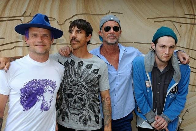 Integrantes da banda de Rock Red Hot Chili Peppers no Rio de Janeiro
