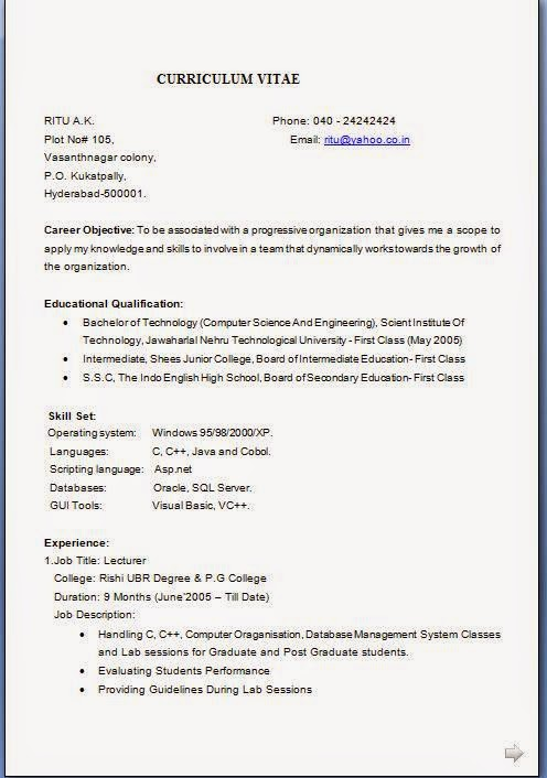 resume format resume format application