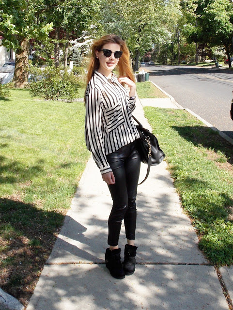 zara black and white striped button up blouse wedge sneakers