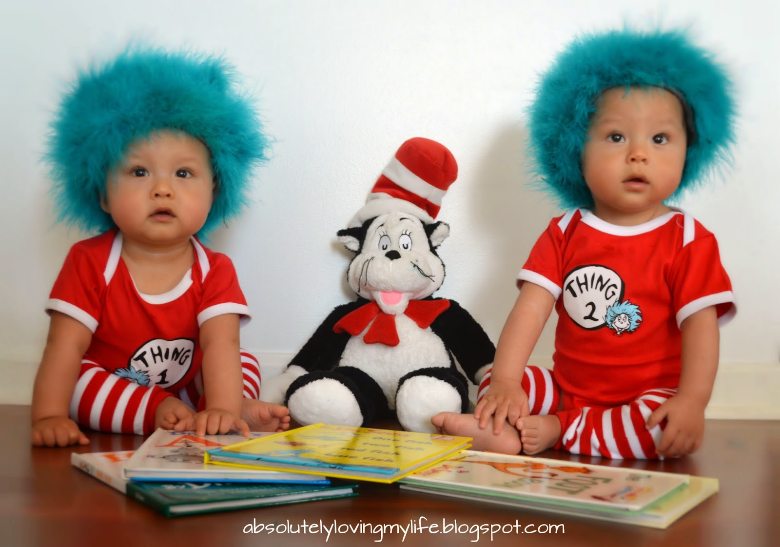 Loving Life Our Twins First Halloween Costumes Thing 1 And Thing 2