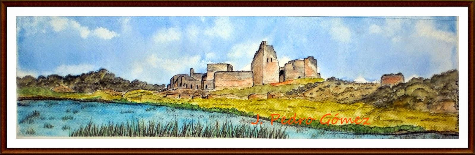 calatrava la vieja, castillo, ciudad real, plumilla, tinta, acuarela, tecnica mixta, j. pedro gómez, paisaje