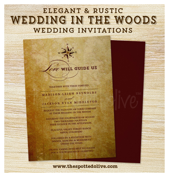 Rustic Wedding in the Woods Invitations by The Spotted Olive